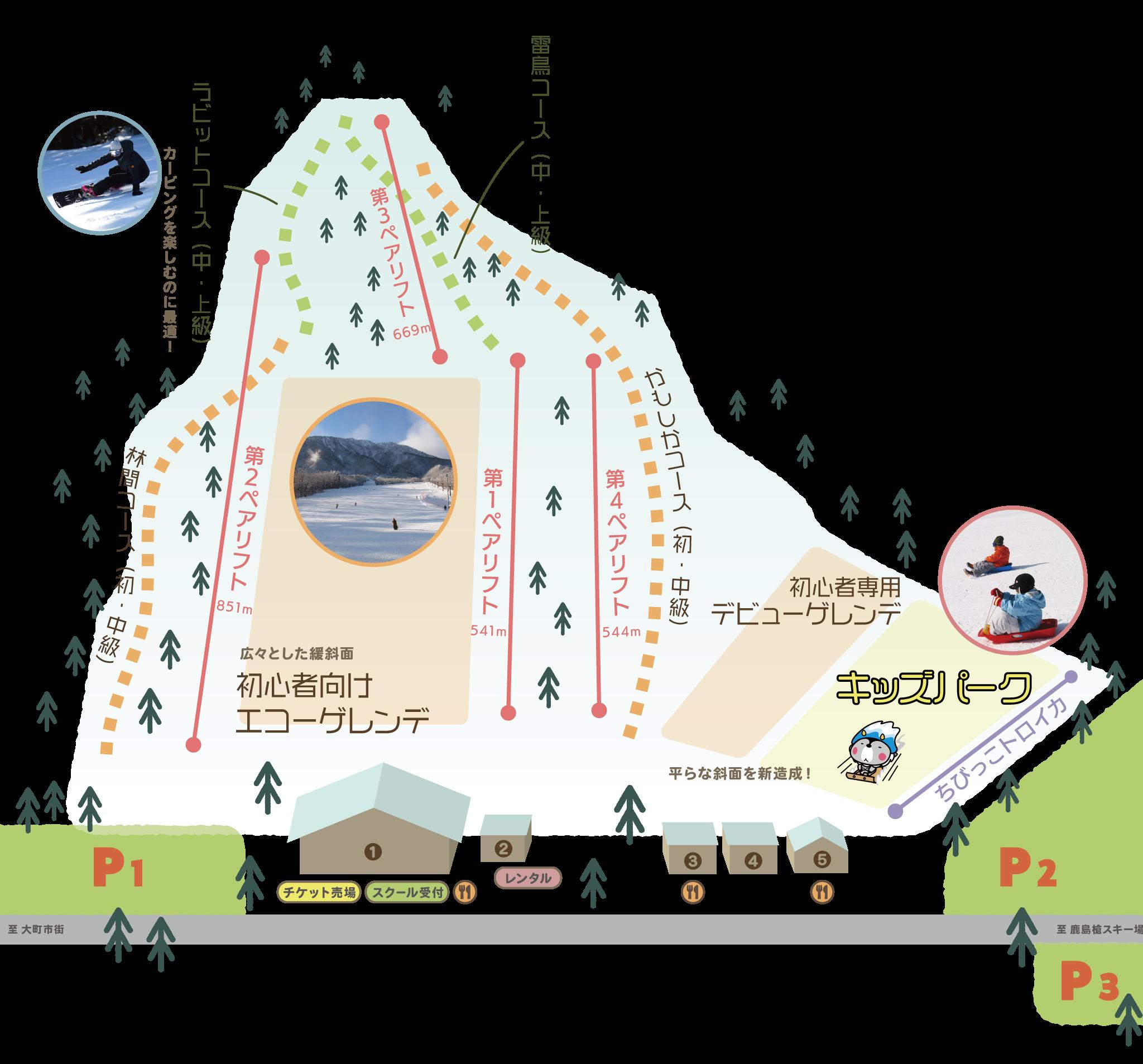 爺ガ岳スキー場ゲレンデマップ
